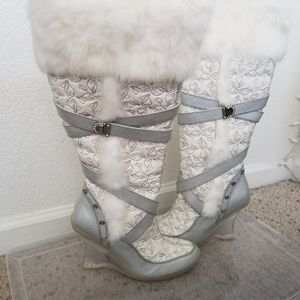 Baby Phat White Silver Tall Boots with the Fur